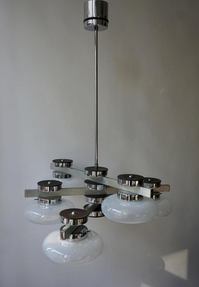 Metal Italian Murano Glass Chandelier For Sale