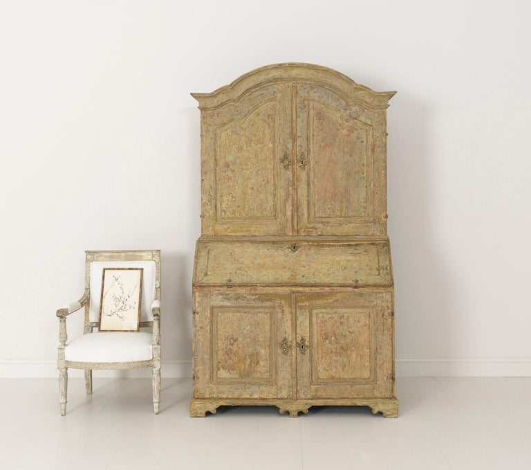 Brass 18th Century Swedish Baroque Period Secretary with Library in Original Paint For Sale
