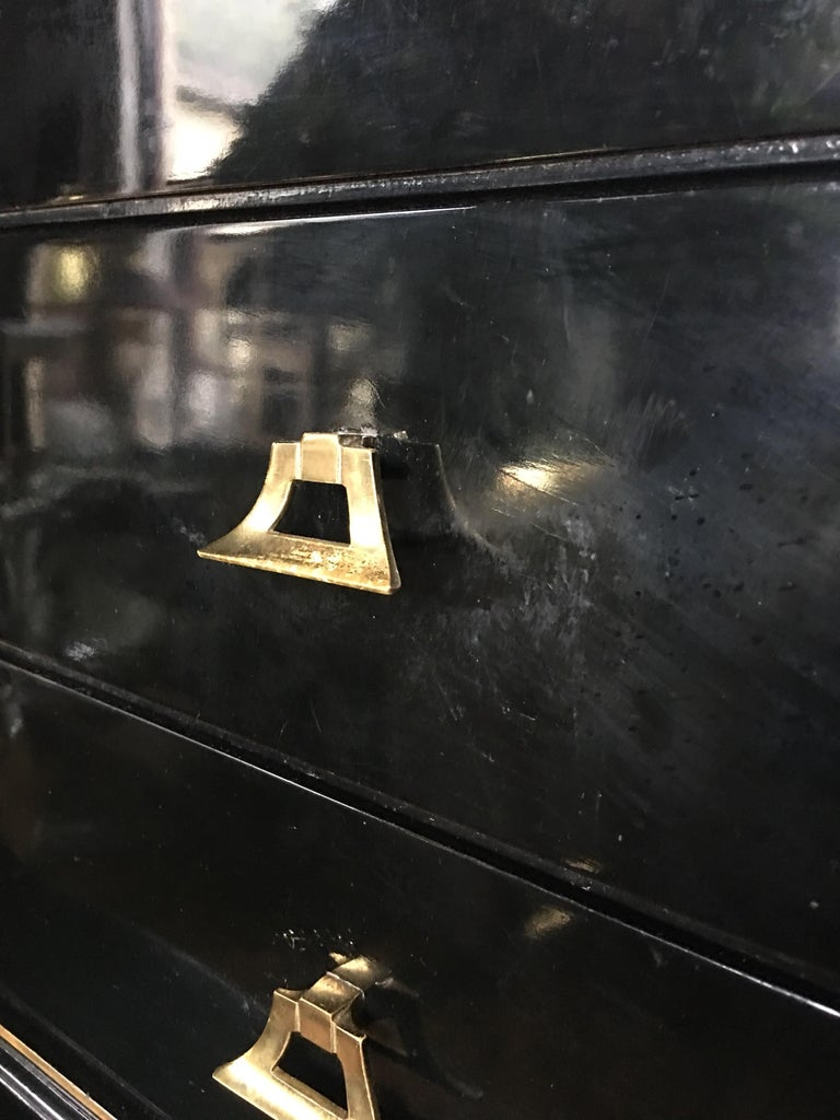 Art Deco Style Lacquer and Gilt Greek Key Dresser Chest For Sale 1