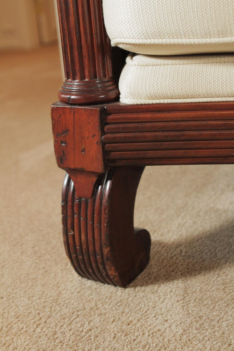 Long Carved Mahogany Regency Style Sofa For Sale 1