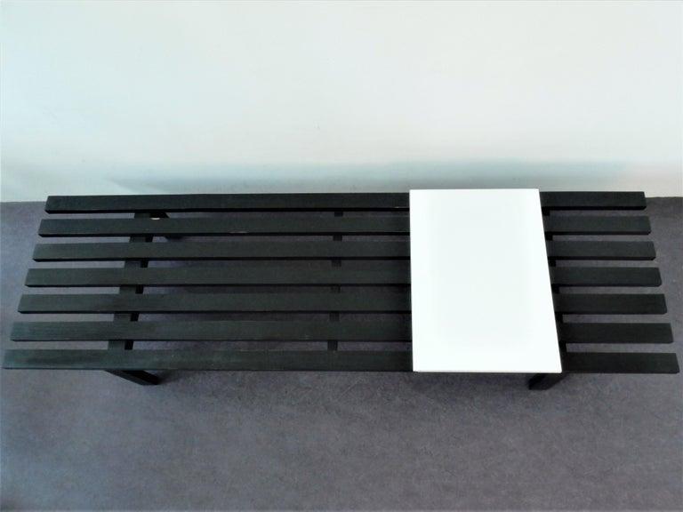Wood Black BZ82 Slat Bench with Sliding Shelf by Martin Visser for 'T Spectrum, 1960s For Sale