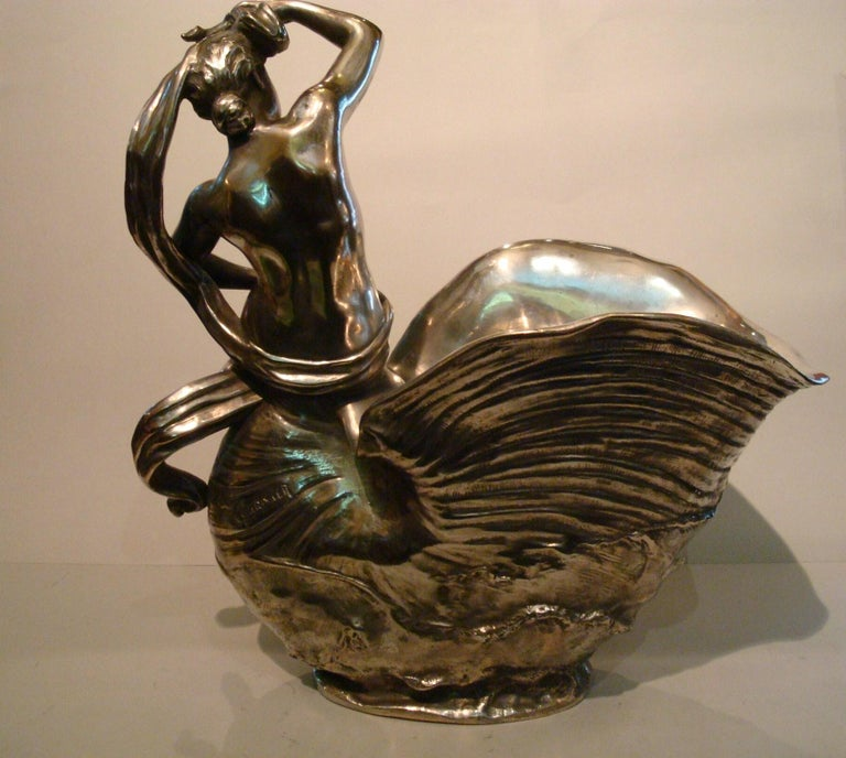 19th Century Classic Nude Women Bronze Sculpture Champagne, Wine Cooler, France For Sale