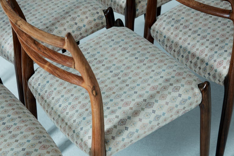 Set of Eight Model 78 Rosewood Chairs by Niels O. Møller, Denmark, 1960s For Sale 1