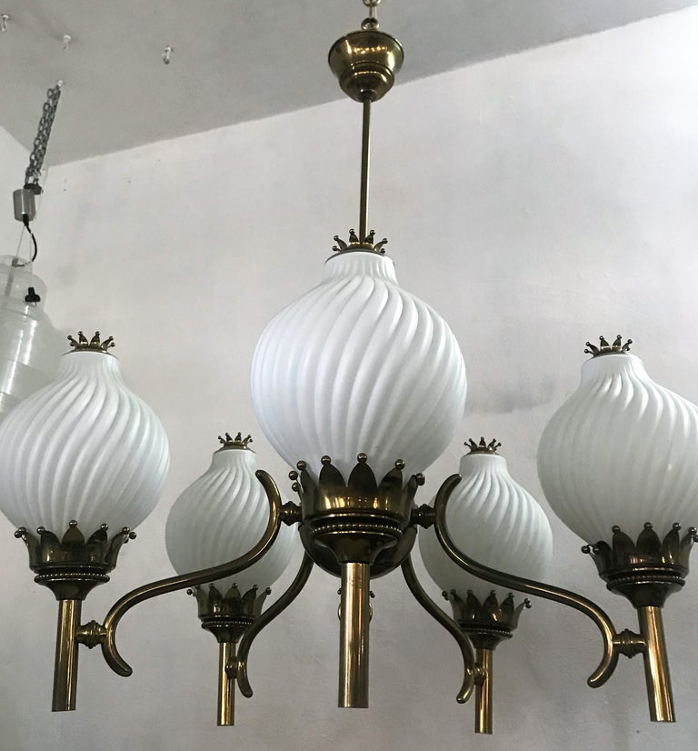 Published Italian Chandelier by Angelo Lelli for Arredoluce, circa 1950 For Sale 1
