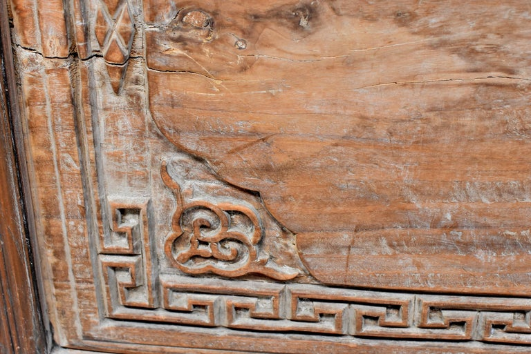 Chinese Antique Solid Wood Carved Plaque with a Rose For Sale 2