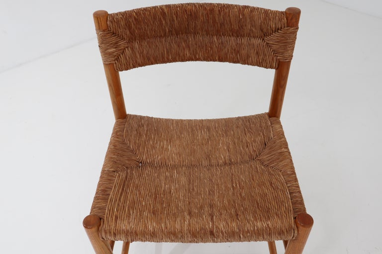 "Straw Four ""Dordogne"" Chairs by Charlotte Perriand for Robert Sentou For Sale"