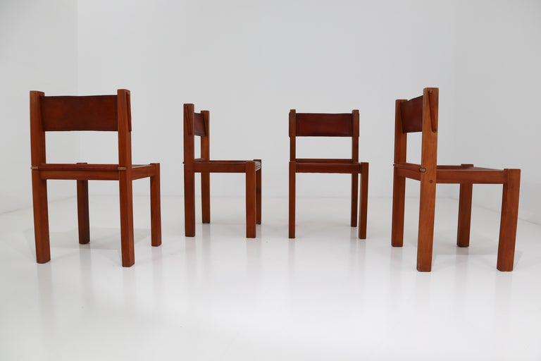 Four Midcentury Wood and Leather Dining Chairs For Sale 1