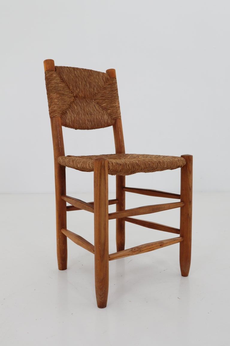 "Straw Three ""Bauche"" Chairs by Charlotte Perriand for Steph Simon, France 1950s For Sale"