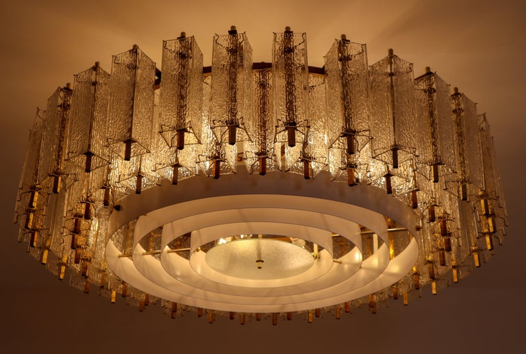 Three Extra Large Midcentury Chandeliers in Structured Glass and Brass, Europe For Sale 1