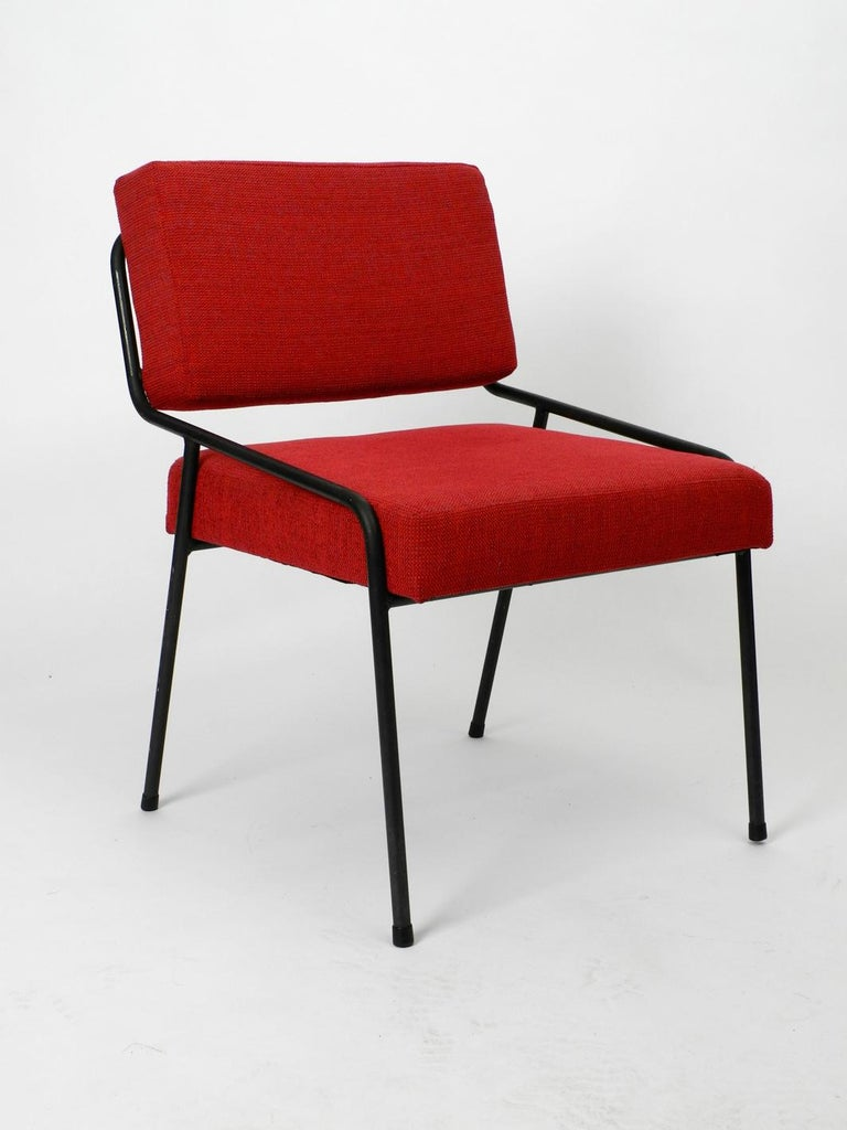 1950s Heavy Black Metal Chair Reupholstered Made in Czech Republic For Sale 2
