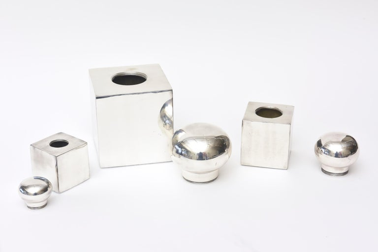 Silver Plate Set of 3 Italian Vintage Silver-Plate Square Sculptural Boxes / Objects For Sale