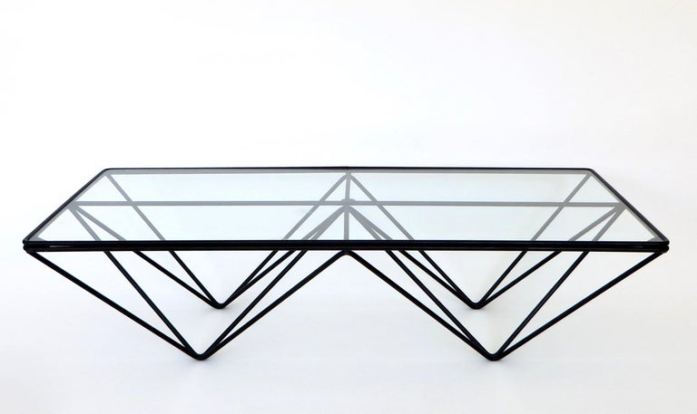 Black Steel and Glass Coffee Table in The Style of Paolo Piva Alanda Table  1