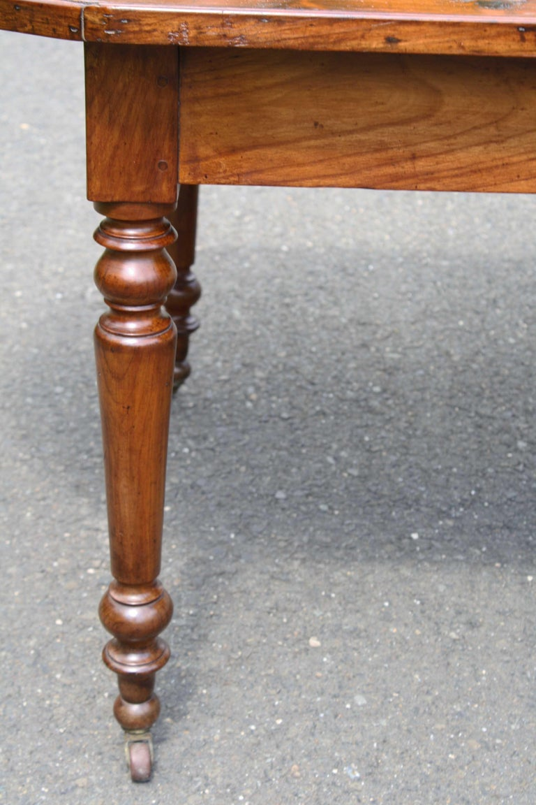19th Century Knotted Pine Planked 'Demi-Ended' Farm Table For Sale