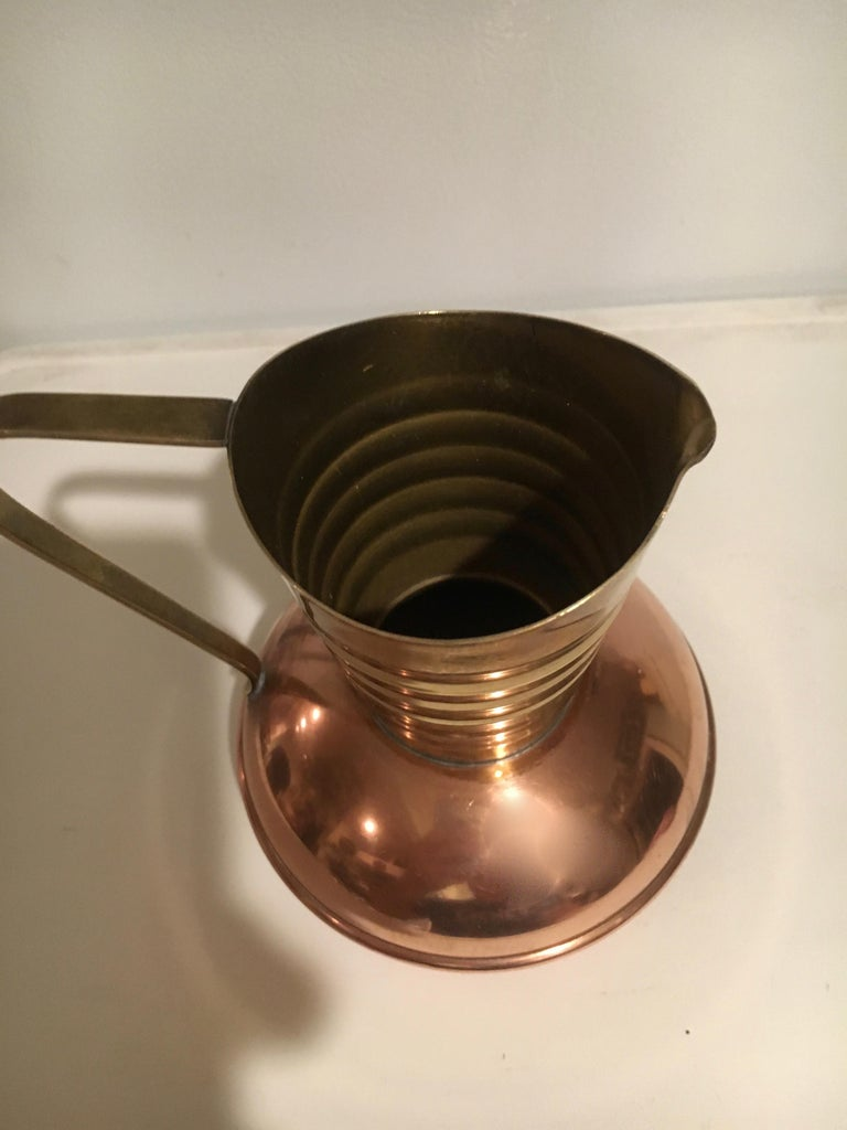 20th Century Brass and Copper Handled Sauce Liquid Pitcher