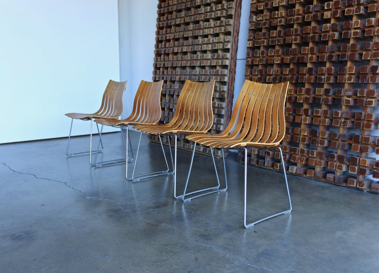 Steel Hans Brattrud Scandia Dining Chairs for Hove Mobler, Norway For Sale