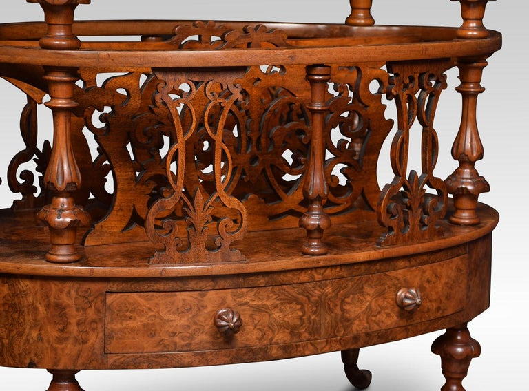 Walnut and Inlaid Oval Canterbury For Sale 2