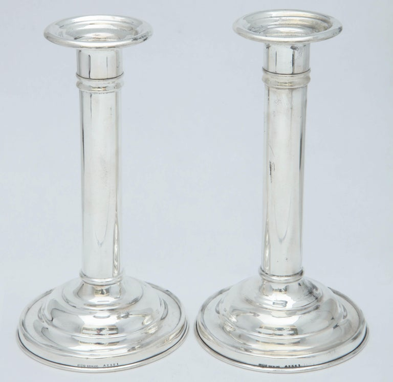 Edwardian Pair of Sterling Silver Candlesticks For Sale 3