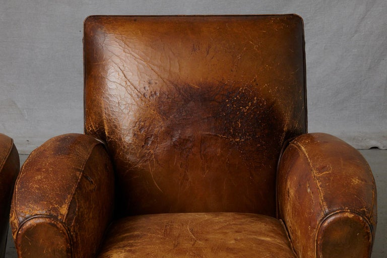 Pair of Large Distressed French Leather Fauteuils or Club Chairs, circa 1930s For Sale 3