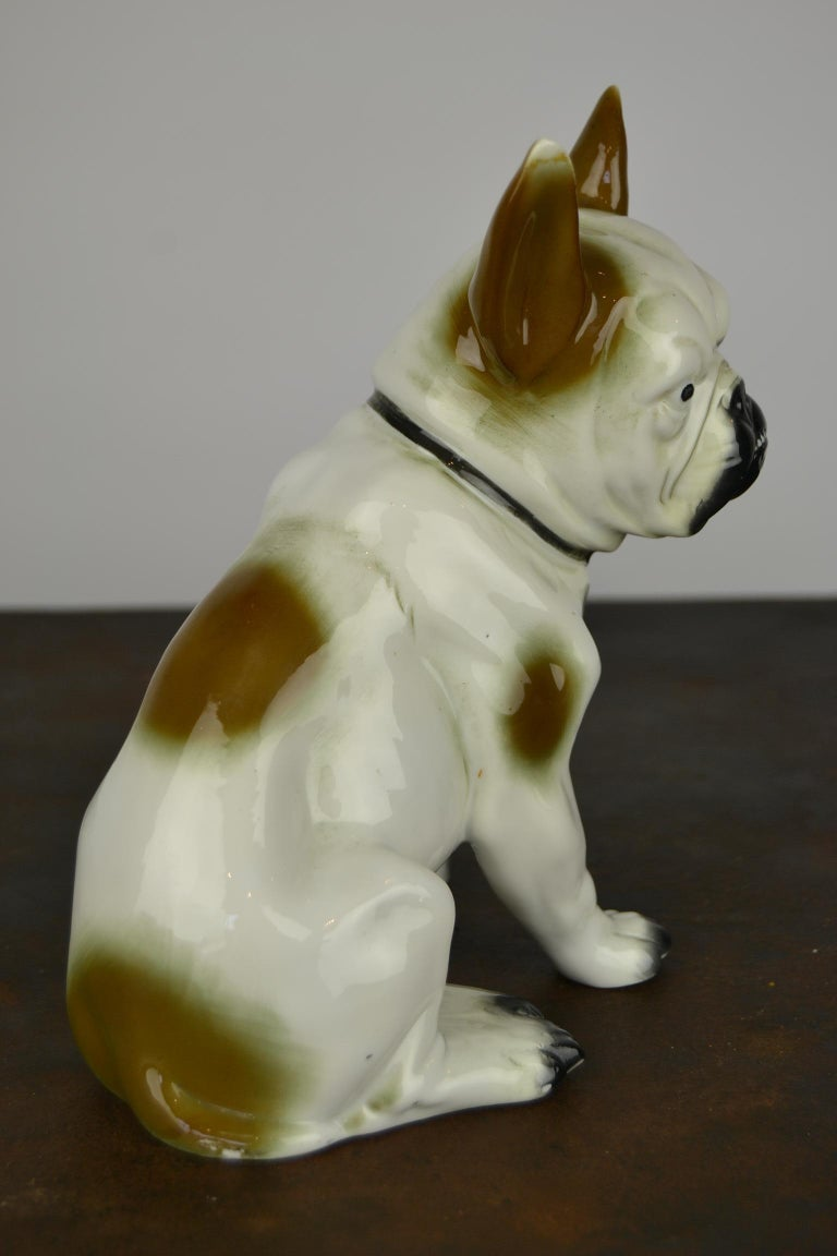 Art Deco Sitzendorf Porcelain French Bulldog Figurine For Sale 2