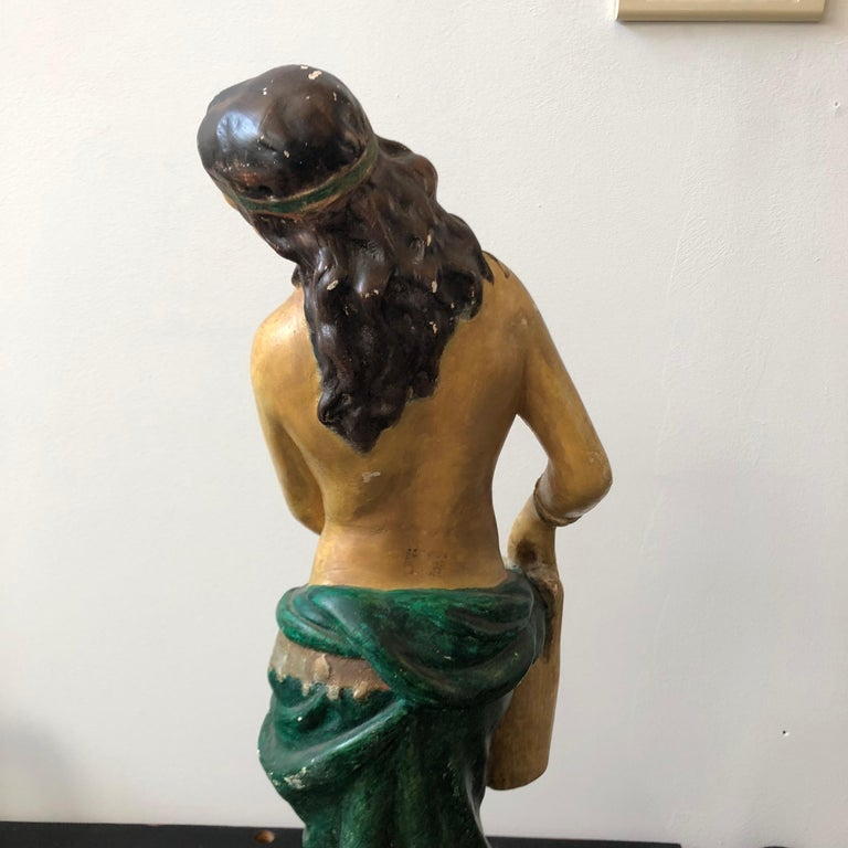 Italian Plaster Statue of a Woman with an Amphora, circa 1930 For Sale 2