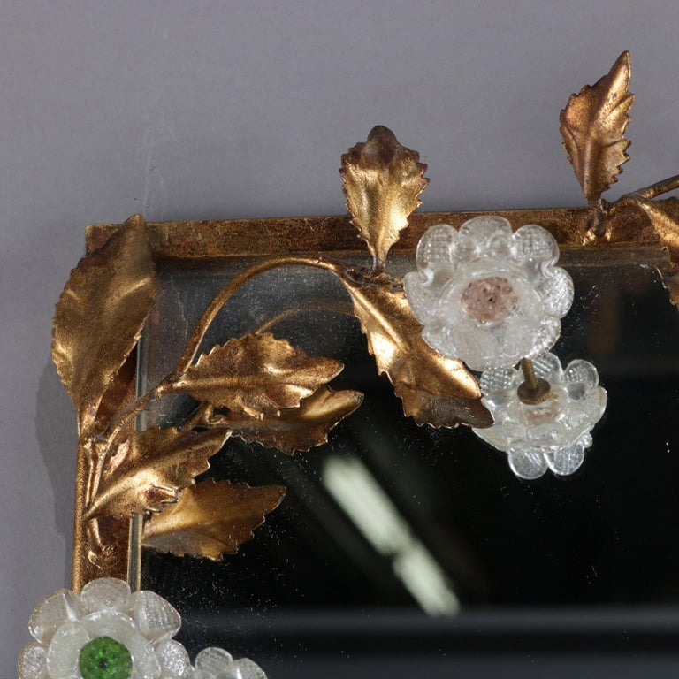 Vintage Italian Gilt Foliate & Crystal Double Candle Light Sconce Display For Sale 2
