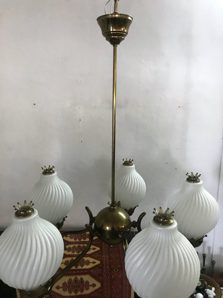 Published Italian Chandelier by Angelo Lelli for Arredoluce, circa 1950 For Sale 2