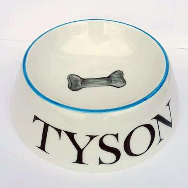 Modern Dog Bowl Porcelain Handpainted Customized Sofina Boutique Kitzbuehel For Sale 2