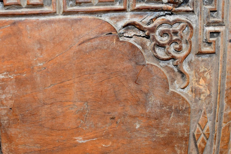 Chinese Antique Solid Wood Carved Plaque with a Rose For Sale 3