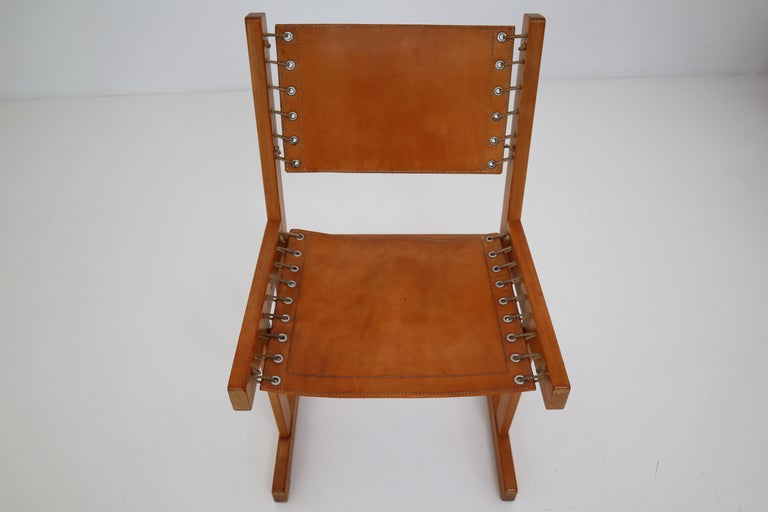 Midcentury Safari Chairs in Thick Cognac Saddle Leather and Solid Pine Wood For Sale 2