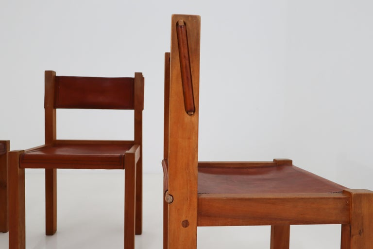 Four Midcentury Wood and Leather Dining Chairs For Sale 2