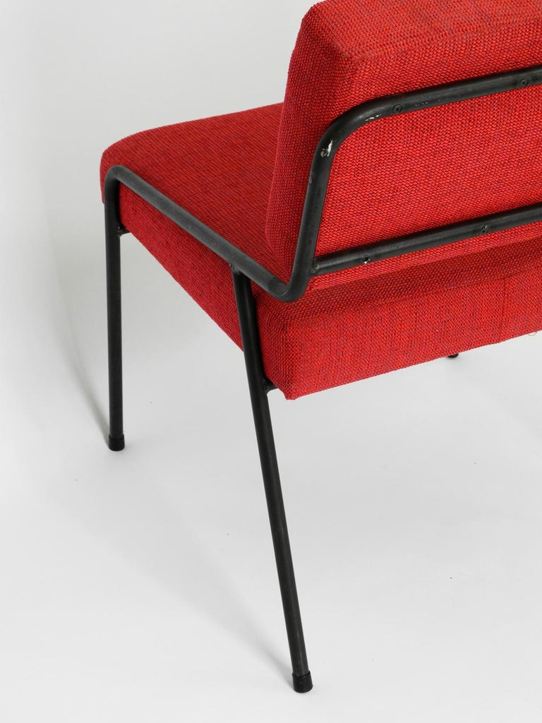 1950s Heavy Black Metal Chair Reupholstered Made in Czech Republic For Sale 3