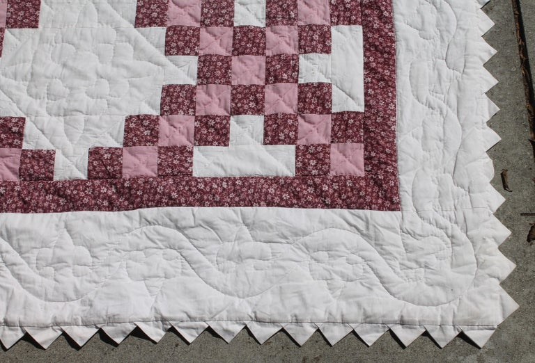 Cotton Irish Chain Quilt King Size For Sale