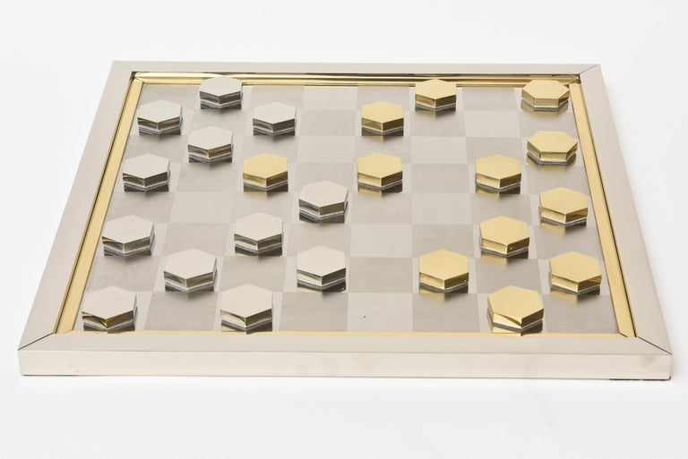 Romeo Rega Brass and Chrome Plated Checkers Game Italian Signed For Sale 3