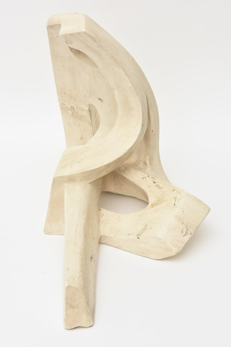 Seated Modernist Figure Stone Sculpture Vintage For Sale 2