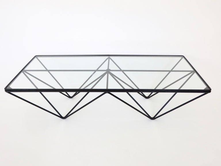 Black Steel and Glass Coffee Table in The Style of Paolo Piva Alanda Table  For Sale 2
