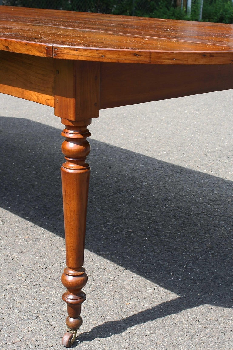 Mahogany Knotted Pine Planked 'Demi-Ended' Farm Table For Sale