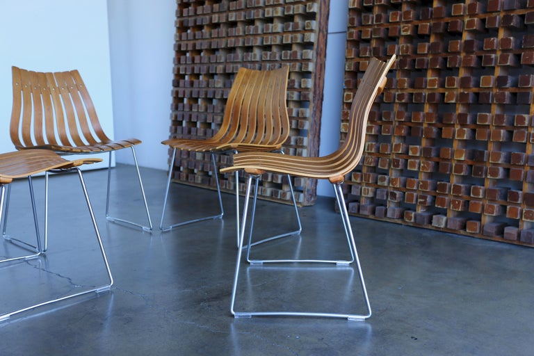 Hans Brattrud Scandia Dining Chairs for Hove Mobler, Norway For Sale 1