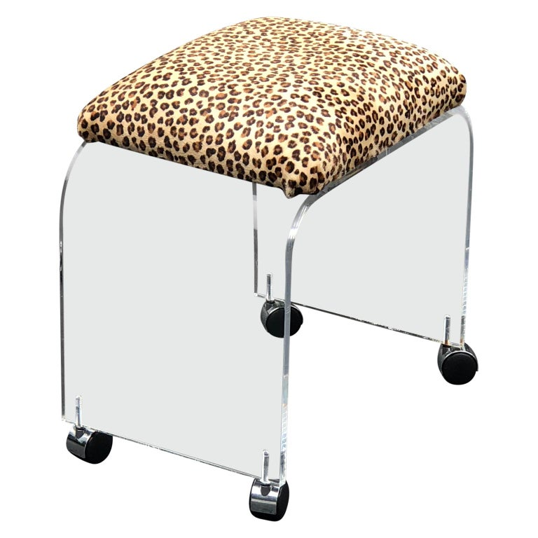 Mid-Century Modern Waterfall Lucite Stool or Bench with Faux Cheetah Fabric For Sale 2