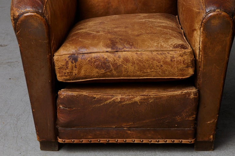 Pair of Large Distressed French Leather Fauteuils or Club Chairs, circa 1930s For Sale 4