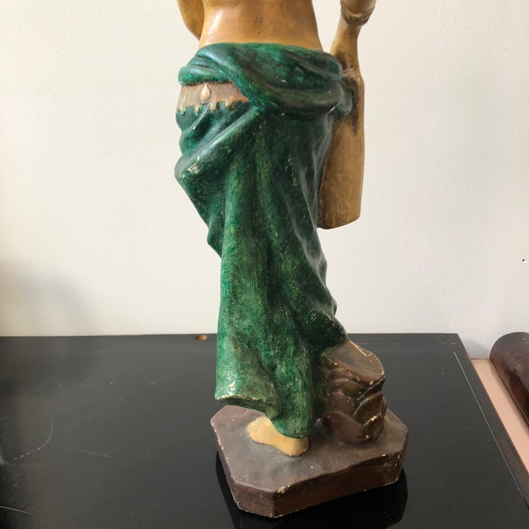 Italian Plaster Statue of a Woman with an Amphora, circa 1930 For Sale 3