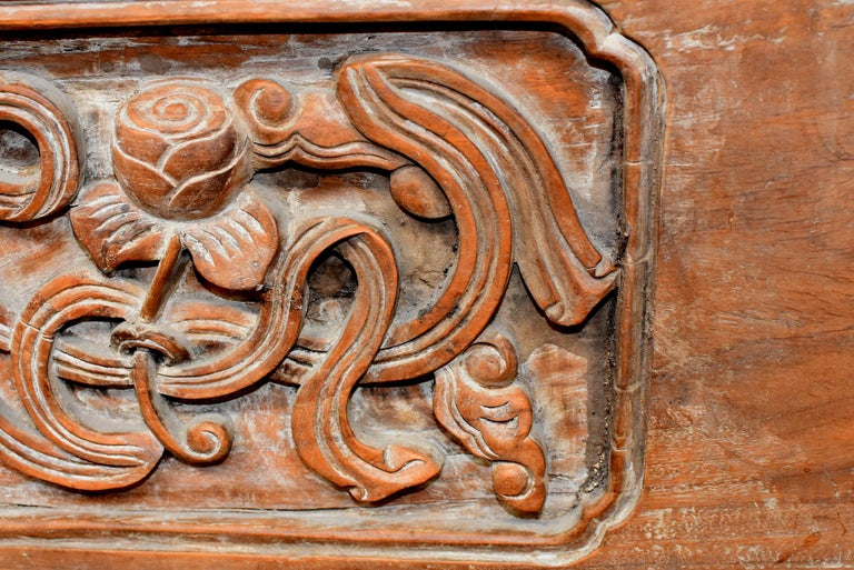 Chinese Antique Solid Wood Carved Plaque with a Rose For Sale 4