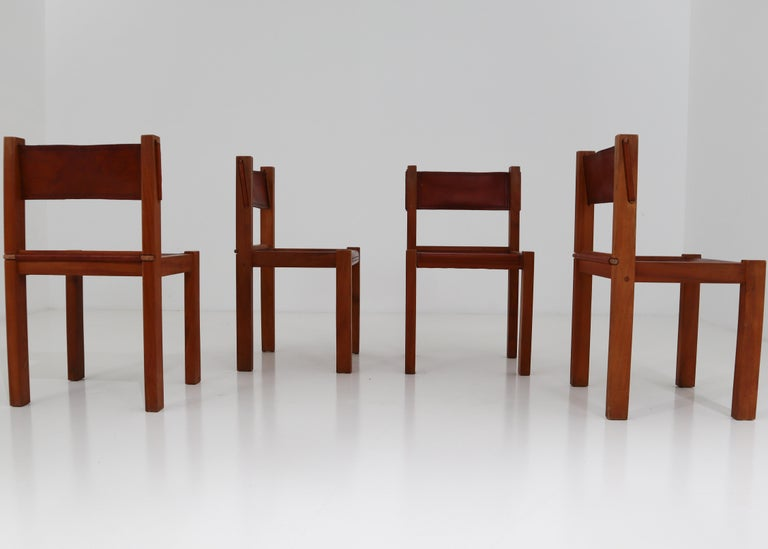 Four Midcentury Wood and Leather Dining Chairs For Sale 3