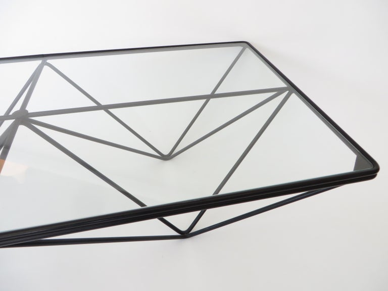 Black Steel and Glass Coffee Table in The Style of Paolo Piva Alanda Table  3