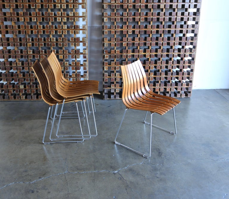 Hans Brattrud Scandia Dining Chairs for Hove Mobler, Norway For Sale 2
