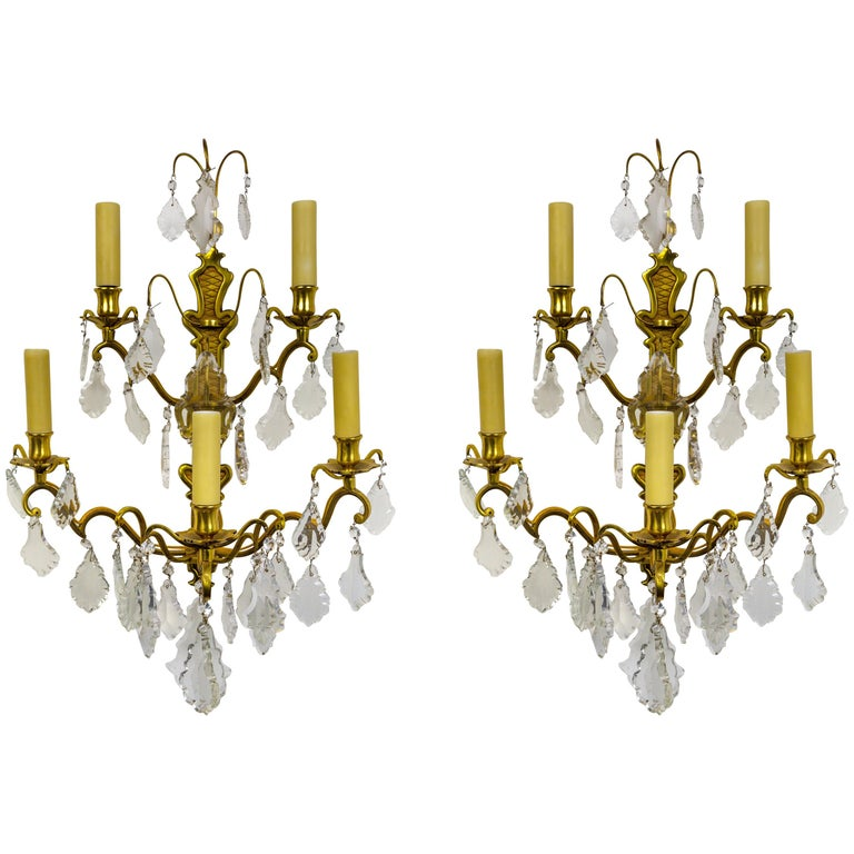 French Double Tier Crystal Candelabra Sconces, Sold Individually