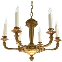 Cast Brass Six Candle Chandelier