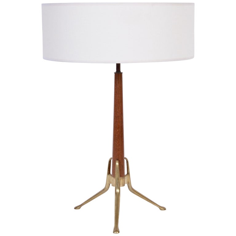 Gerald Thurston For Lightoilier Brass And Wood Tripod Table Lamp