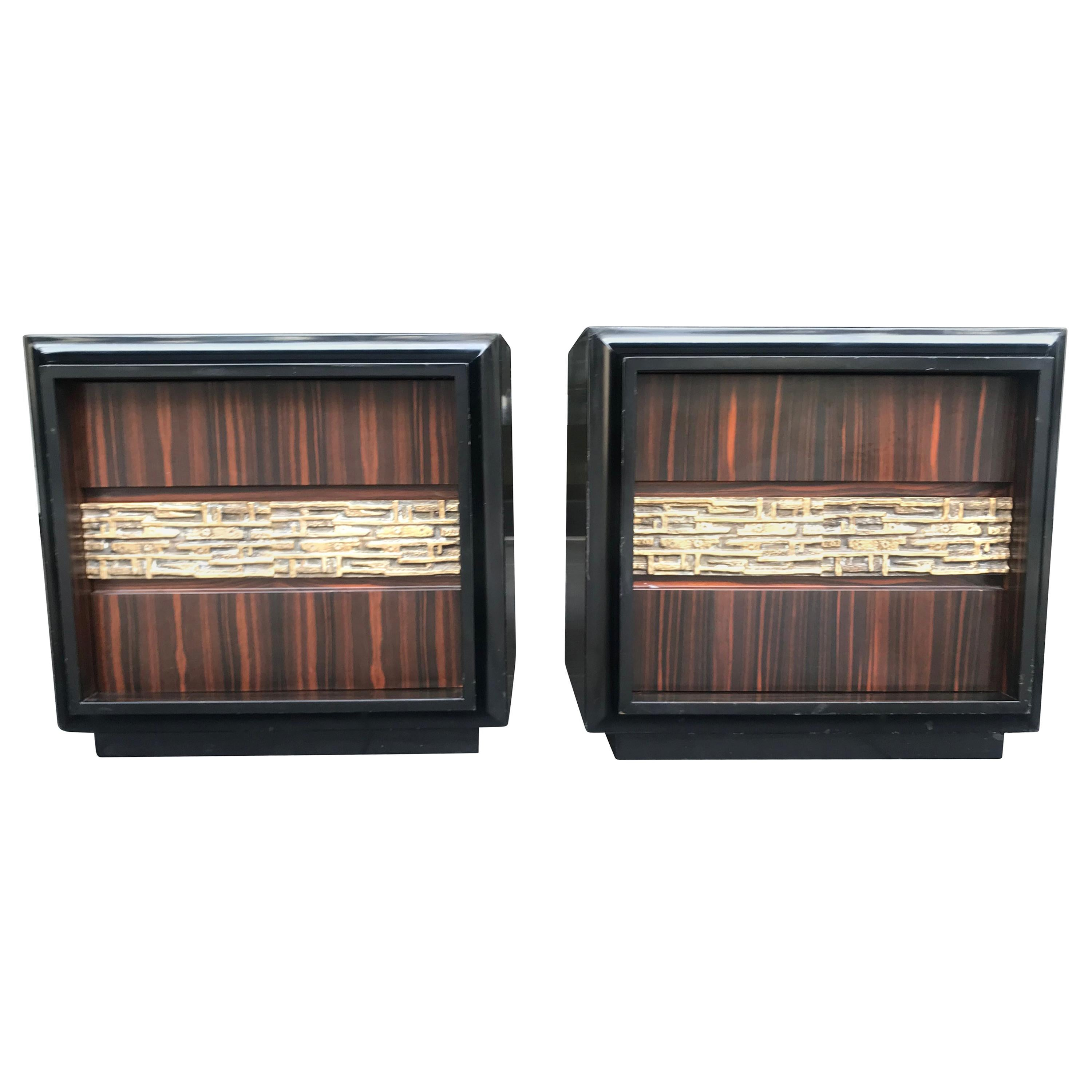 Pair of Luciano Frigerio Palisander and Bronze Side Cabinets