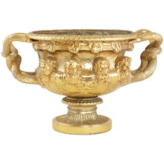 Midcentury French Hotel Ritz Paris Gilt Cast Iron Urn with Handles and Masks