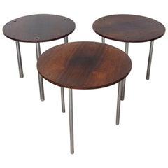 Rare Poul Nørreklit for Petersen Round Nesting Tables Rosewood, Denmark, 1960s